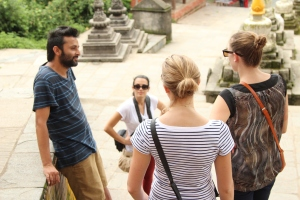 VCD Nepal Founder Bikram Paudel takes volunteers sightseeing in Kathmandu before their placement